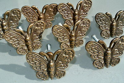 "8 heavy Butterfly handles solid Brass PULL knobs kitchens antiques 2 "" knobs B"