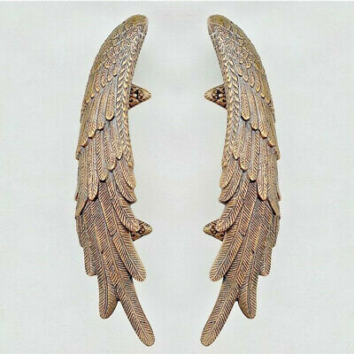 2 ANGEL cast heavy WINGS hollow soild brass door pull old style natural aged