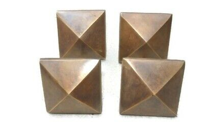 "4 brass STUDS door solid heavy furniture boxes vintage age old style 2"" decor"