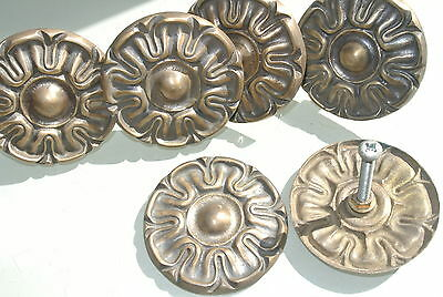 6 rossettes flower solid brass heavy old vintage style DOOR 3