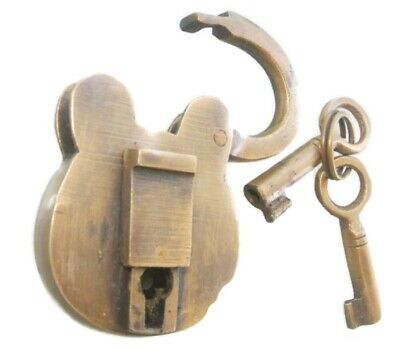 "small 2.1/2"" PADLOCK Vintage old stye antique aged solid brass 2 key heavy lock"