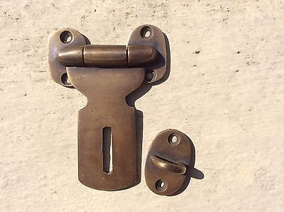 "Small catch hasp latch vintage style house BOX antiques heavy 3"" solid brass"