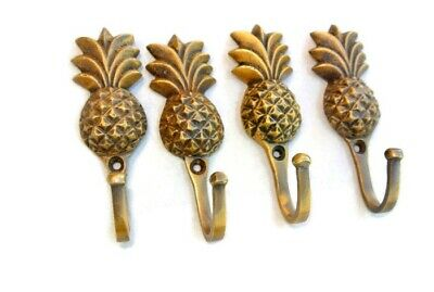 4 very small PINEAPPLE BRASS HOOK COAT WALL MOUNTED HANG old style hook 3""