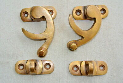 "2 Nice 5cm 2 "" box Latch turn catch solid brass furniture 50mm doors trinket arm"