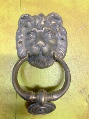 used LION head heavy front Door Knocker SOLID BRASS vintage antique style house