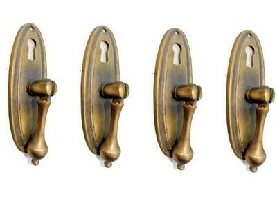 4 pulls handles solid brass door vintage old style drops knobs kitchen heavy KH