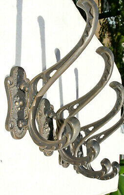 "4 COAT HOOKS door heavy solid brass furniture antiques vintage old style 4 "" B"