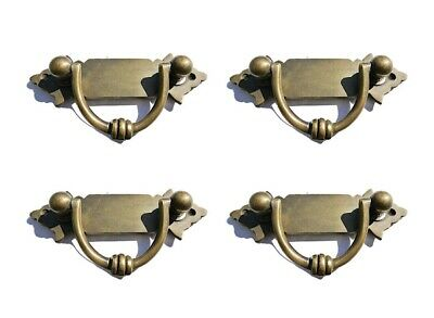 4 small old look BOX drawer pulls handles for antiques brass vintage style 4.12""