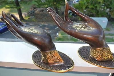 2 BUDDHA DOOR handle solid ageds brass antique old style HAND fingers 25cm L&R B