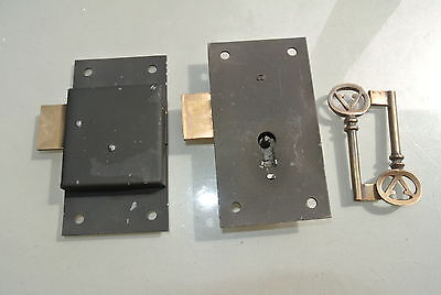 "2 old style CUPBOARD lock  Antiques doors furniture & brass key 4"" locks flush"