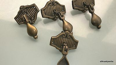 4 small pulls handles solid aged brass door old style drops knobs kitchens 2 ""