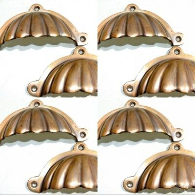 "8 heavy shell shape pulls handle antique solid brass vintage 4"" vintage style"