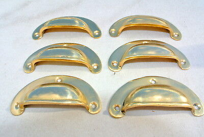 6 small shell shape pulls handles old solid brass vintage POLISHED drawer 82 mmB