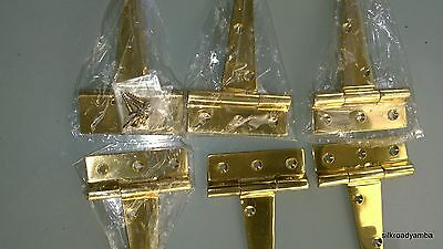 6 POLISHED small hinges vintage aged style solid Brass DOOR BOX restoration 4""