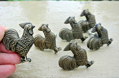6 small CHICKEN knobs aged solid BRASS old vintage style natural 5 cm high B