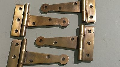 "4  small hinges vintage aged style solid Brass DOOR BOX restoration 4"" B"