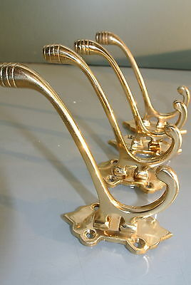 4 USED small COAT HOOKS door solid heavy brass furniture vintage polished style