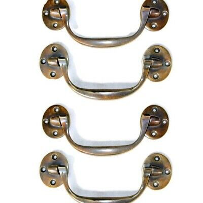 "4 heavy handle PULL Bale solid Brass kitchen BOX DOOR 15cm aged vintage 6"" B"