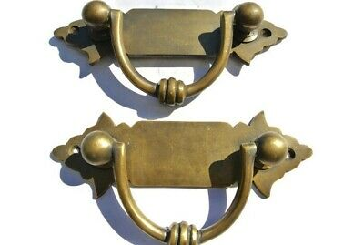 2 small old look BOX drawer pulls handles for antiques brass vintage style 4.12""