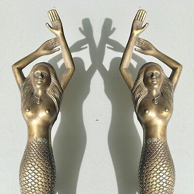 "2 large MERMAID solid pure brass door PULL old style heavy house handle 15""ageB"
