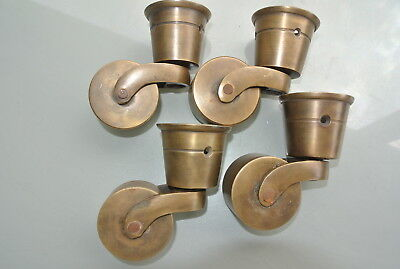 4 big CUP solid Brass foot castors wheel chairs tables old antique style 9 cm