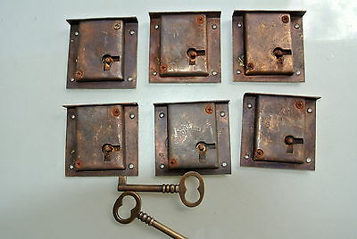 6 old style aged locks CUPBOARD lock for Antiques doors furniture brass 2 keys