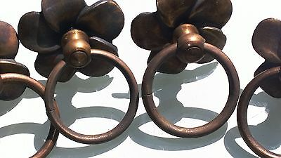 4 handle ring pull flower solid brass heavy old vintage asian style DOOR  70 mm