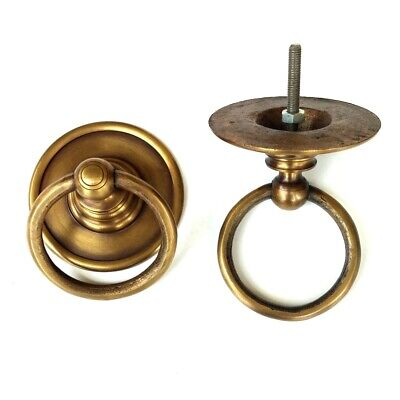 """2 medium round handle ring pull solid brass heavy old vintage OLD style DOOR 3""""B"""