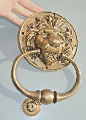 huge LION head old heavy Door Knocker SOLID BRASS vintage old style house 26cm B
