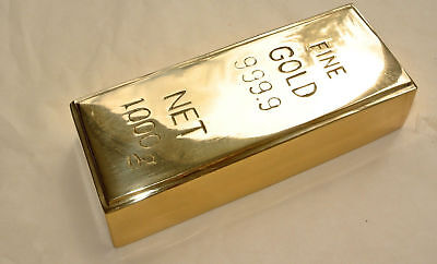 "Fake fine GOLD bullion Bar paper weight 6"" prop heavy 100% brass polished 999.9B"