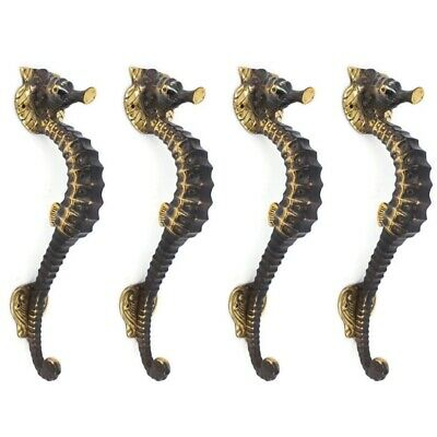 "4 SEAHORSE solid brass door AGED old style house PULL handle 10"" outdoor small B"