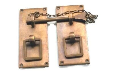 "2 Door box Latch catch brass rectangle bolt chain old vintage asian style 4"" B"