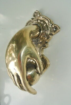 hand fist ball front Door Knocker fingers solid age brass hollow 11cm polished B