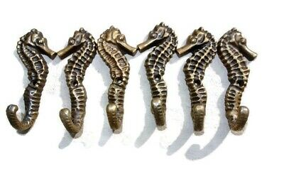 """6 small SEAHORSE BRASS HOOK COAT WALL MOUNTED HANG TROPICAL old style hook 3"""" B"""
