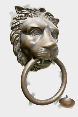 "HUGE stunning LION solid Brass heavy Door Knocker 12"" unusual ring PULL B"