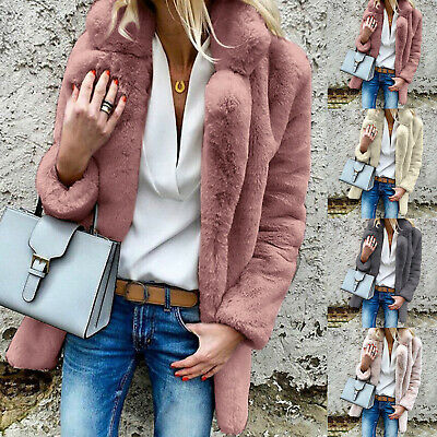 Womens Winter Fluffy Coat Teddy Bear Fleece Fur Jackets Jumper Cardigans Outwear
