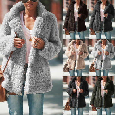 Womens Winter Teddy Bear Fleece Fur Fluffy Coat Jackets Jumper Sweater Outwear