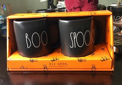 NEW 2019 Rae Dunn Halloween BOO and SPOOKY Black Mugs- Set Of 2- LL