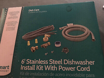New Smart Choice 6' Stainless Steel Dishwasher Install Kit w/ Power Cord
