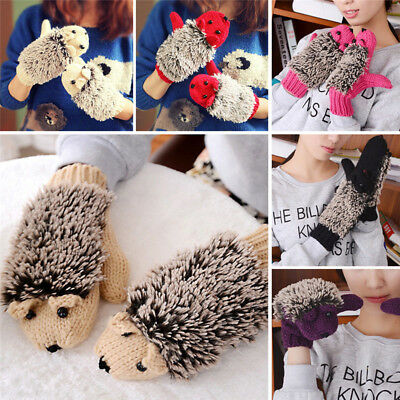 Knitted Crochet Hedgehog Without Fingers Gloves Womens Winter Warm Wool Mittens