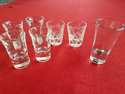 Shot Glasses Lot Of 7 Vintage Glass Bar Bar Ware Whiskey Shots 2 Sets +1 Larger