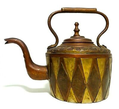 Moroccan Early 20Th C Antique Ornate Copper/Brass Raised Panel Tea Pot, W/Handle