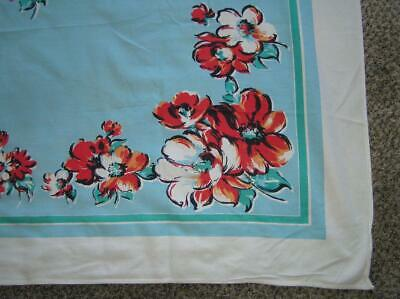 Vintage 1940's Floral White Edge on Blue Motiff Thick Cotton Tablecloth 54x62