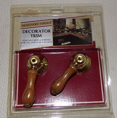 Vtg Designer's Choice P&M Replacement Faucet Knobs Wood Prong Brass Tone NOS