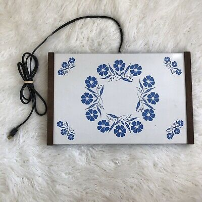 Vintage 1960's Blue Cornflower Floral Electric Food Warming Tray Hot Plate Retro