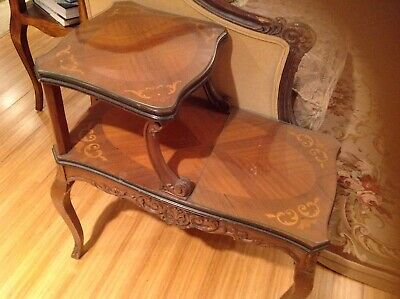 Antique French Louis XV Style Inlaid End Tables Pair
