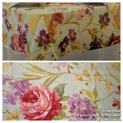 New Summer Floral Rose Theme Tablecloth 60 X 102 Oblong Garden Party Green Color