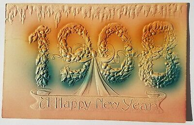 1908 Happy New Year -  Airbrushed Heavily Embossed Postcard- vtg airbrush
