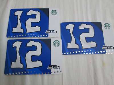 LOT OF 3 NEW Starbucks SEATTLE SEAHAWKS 12th Flag Gift Card 2019 FREE S/H
