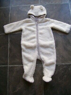 Baby Boy's White & Grey Fluffy Hooded Coverall/Romper Size 0 VGUC